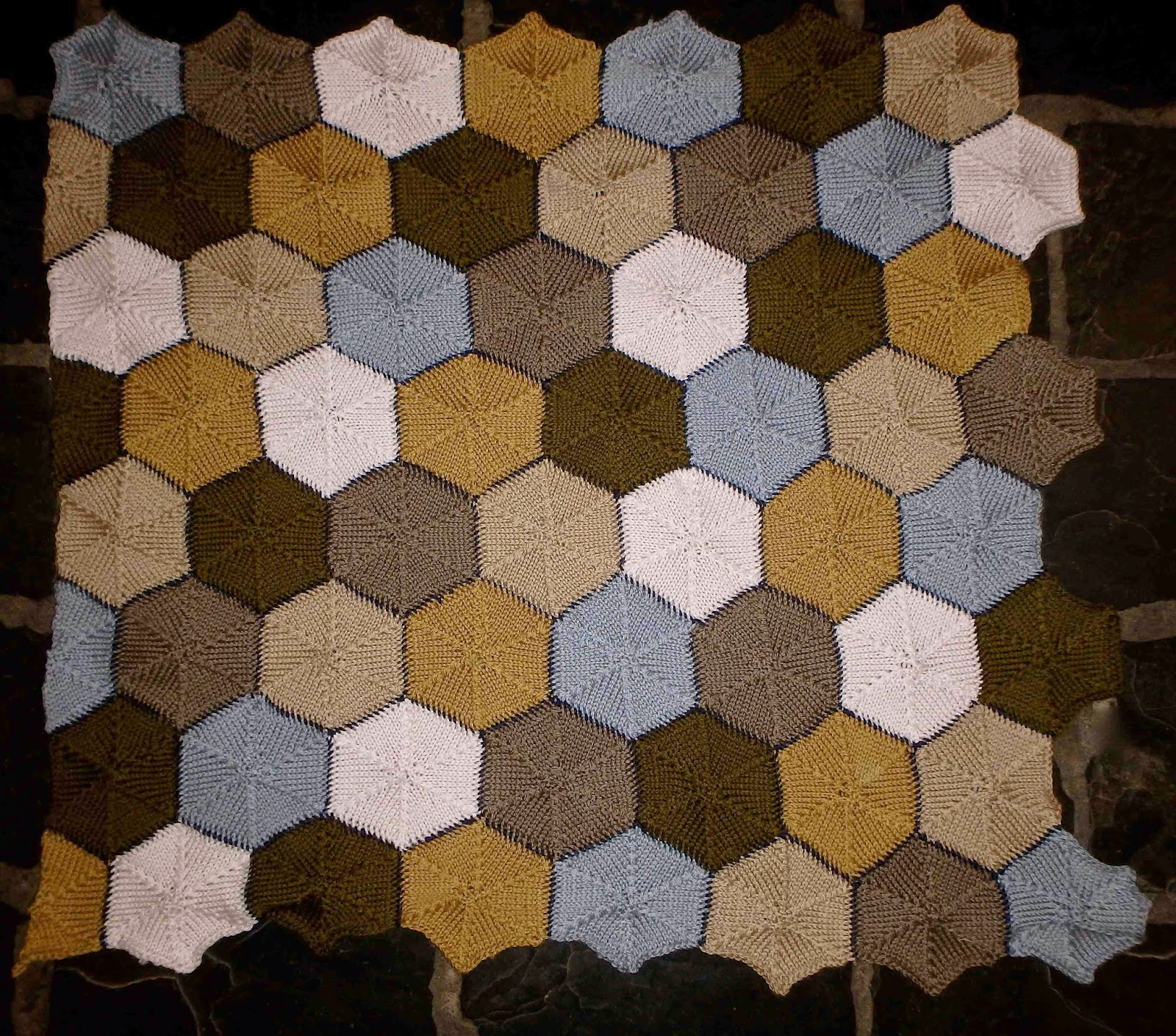 Sydney SCQuilters: Knitted Hexagons... several requests were made yesterday f...