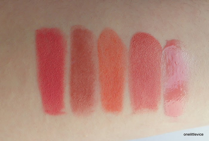 colour of Elusive matte balm compared to Revlon Honey MaxFactor Pink Brandy Mac Fanfare and Lanolips Rose