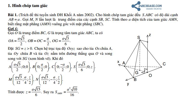 Cách giải hình học không gian bằng phương pháp tọa độ oxyz