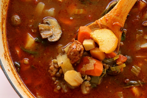 ... of Winter Squash: Autumn Vegetable Soup with Sausage and Green Lentils