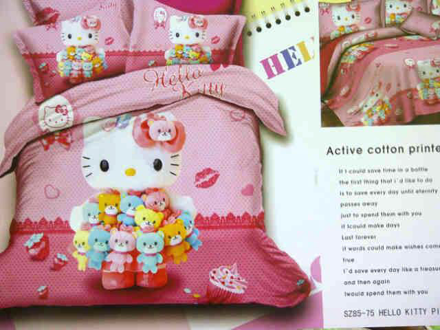 Sprei Anak Motif Hello Kitty Pink