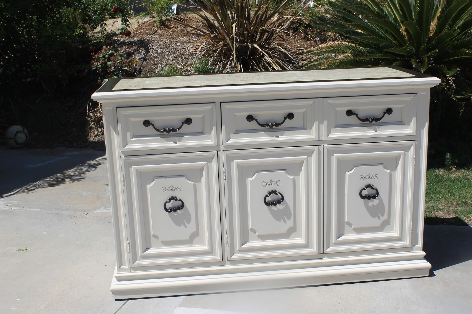 SOLD) Buffet Table - Antique White with Kona Stain. Marble Top ...
