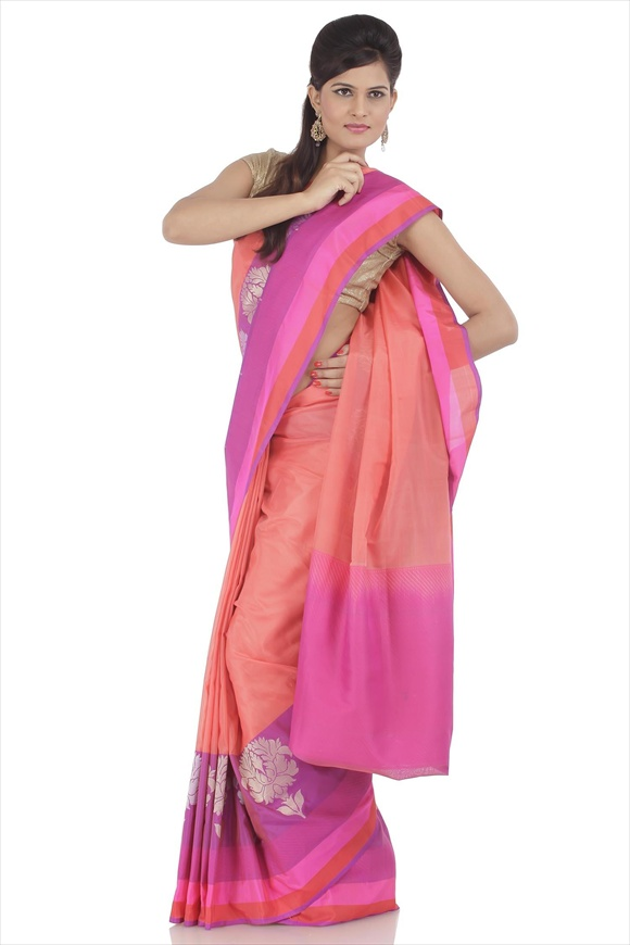 Peach Kattan Silk Banarasi Saree
