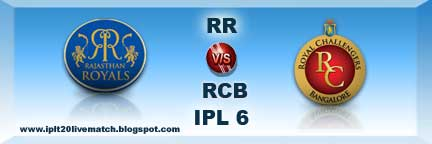 IPL 6 Live Streaming Video and RR vs RCB Live Streaming Video
