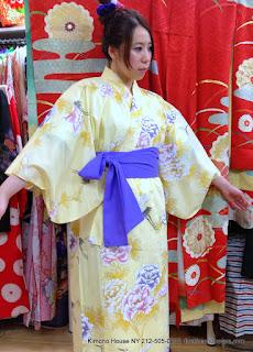 Yellow Yukata Japanese Kimono from Kimono House NY 212-505-0232 thekimonohouse.com