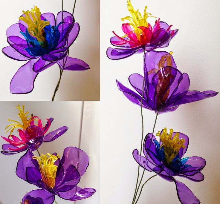 Recycle 39 flower 39 craft with plastic bottle creative art for How to make bottle cap flowers