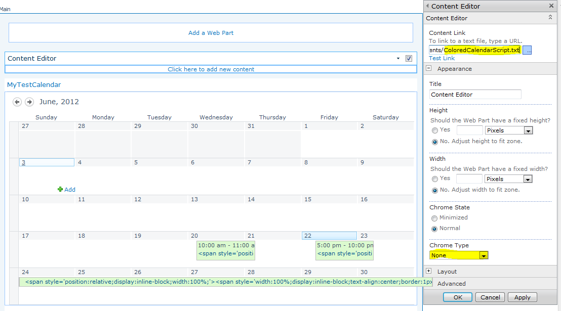 how to create a calendar in sharepoint 2010