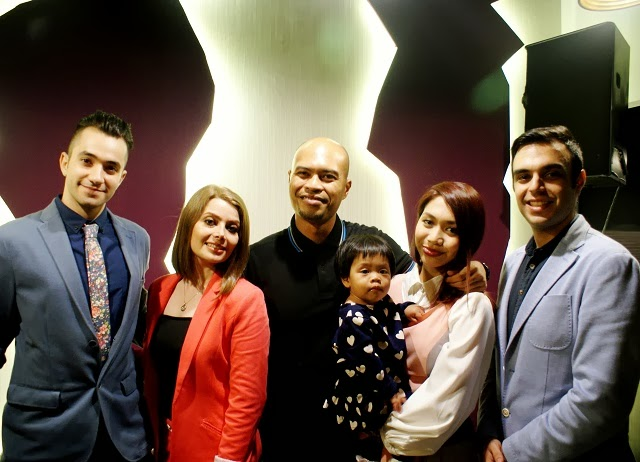 (L-R) Amethyst Restaurant Supervisor, Ramtin Motamedi; Proud wife of Amethyst restaurant owner, Anita Eslami; Khairul Azhar Abdul Wahid, daughter, Eva and wife, Hani Hatim (a.k.a Hunny Madu); and Founder and Head Chef of Amethyst Resaurant, Arash Farahmandi