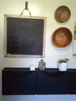 DIY Chalkboard Ikea Trones in the kitchen for recycling, recycle