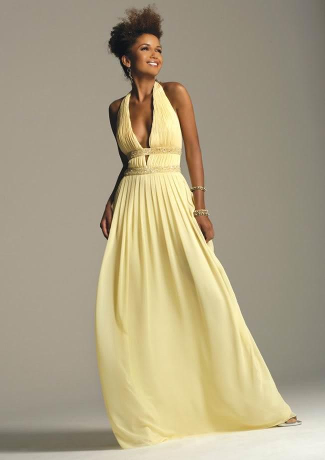 405f6769321a Brud~ Bal och Festklänningar : Ljusgul vacker balklänning med öppen rygg