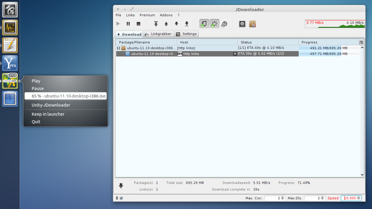 JDownloader Unity Integration (Speed Counter, Progress Bar And