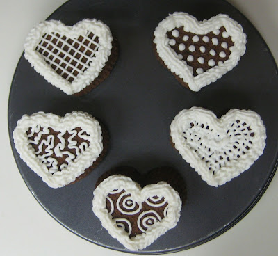 Valentine's Day Heart Shaped Mini Cookie Cakes - Overhead View