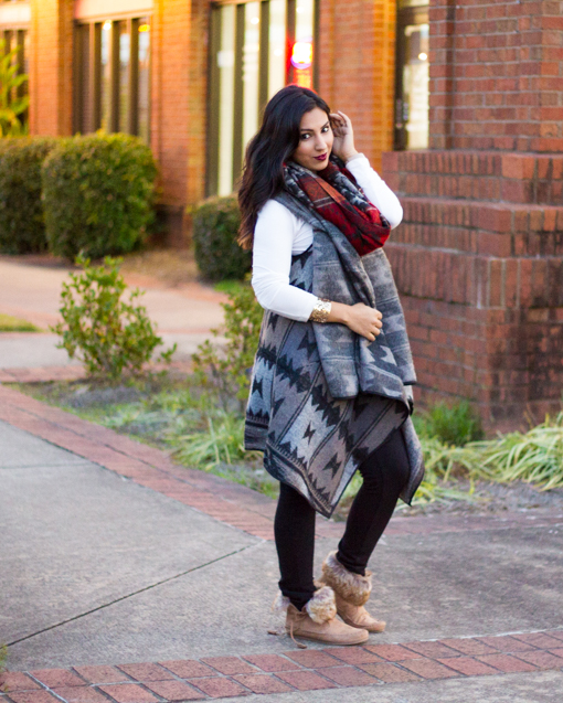 TRIBAL PRINT BLANKET SCARF, FINNN MOCCASIN ANKLE BOOT, TRIBAL FLYAWAY VEST, MADDEN GIRL X KOHLS, RED FRINGE SCARF, FALL FASHION, MADDEN GIRL, MADDEN GIRL KOHLS