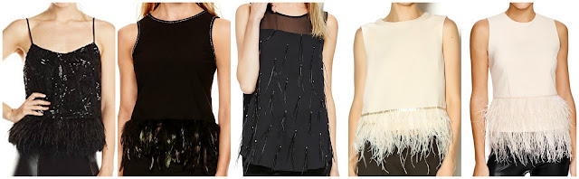 Ark & Co Feather Trimmed Sequin Camisole $24-$84 (depending on size)  Nicole by Nicole Miller Feather Trim Tank Top $40 (regular $68)  Vince Camuto Faux Feather Trim Illusion Top $69 (regular $99)  Endless Rose Feather Trim Top $79 (regular $95) alternate link  Lucy Paris Feather Trim Top $88
