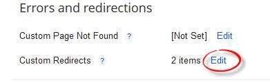custom redirect url in  blogger