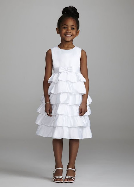David's Bridal Flower Girl Satin Tea Length A Line Dress with Tiered Skirt