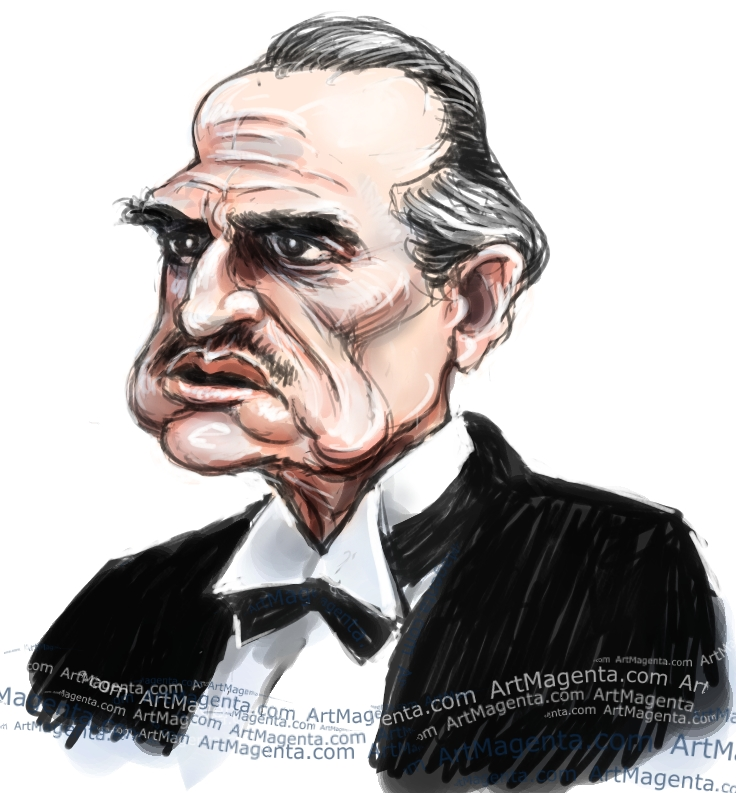 Marlon Brando caricature cartoon. Portrait drawing by caricaturist Artmagenta