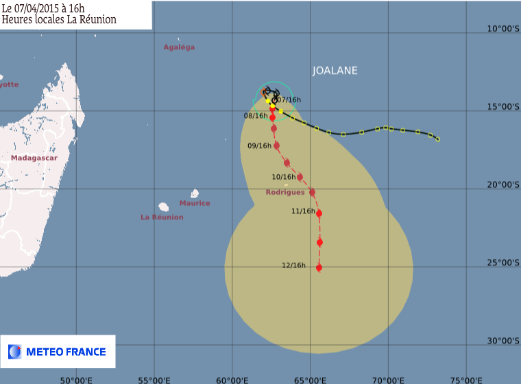 Trajectoire du cyclone tropical Joalane