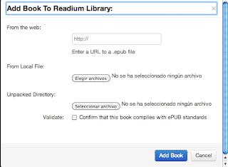 añadir epub a Readium