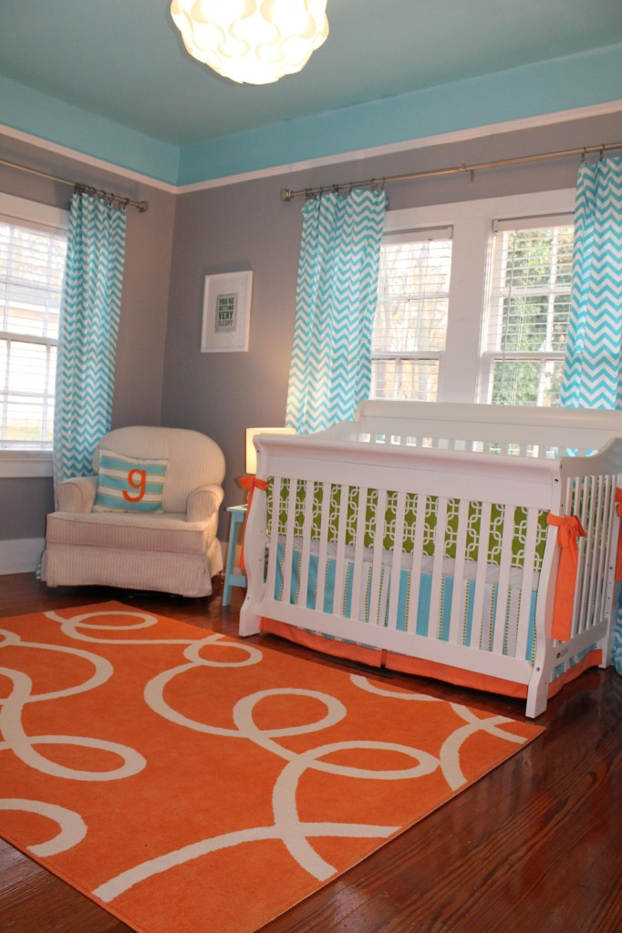 Custom nursery art by kimberly cool color combo orange for Baby boy s room decoration