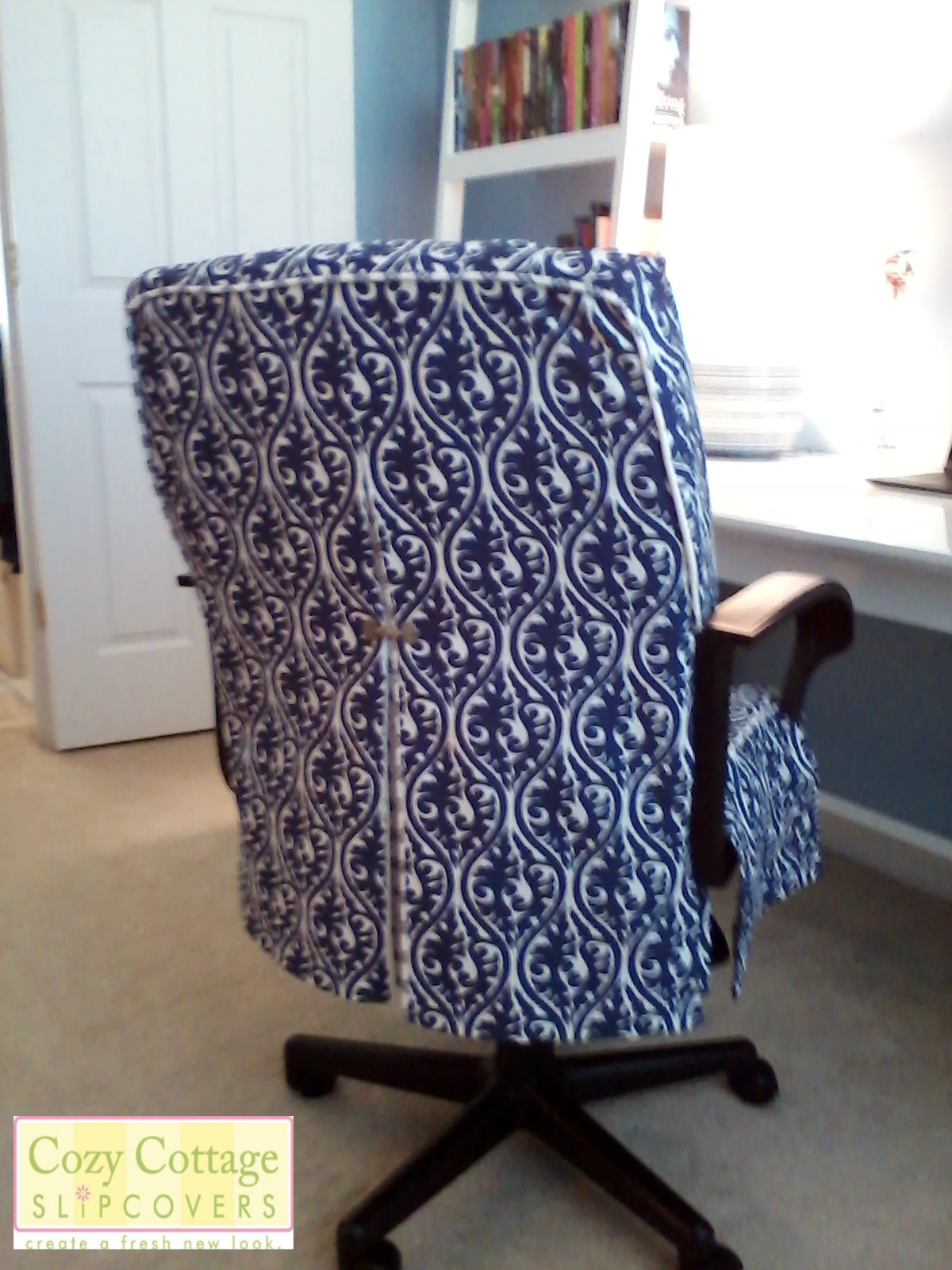 Office chair slipcovers - I Had A Lot Of Fun Working With These Beautiful Fabrics Below Are Pictures My Customers Have Sent Me Showing How The Slipcovers Look In Their Office Space