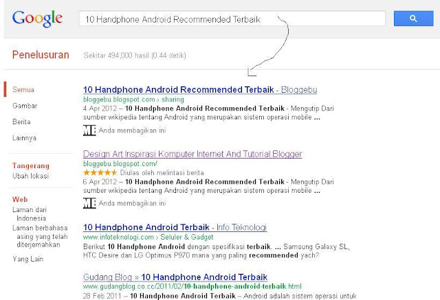 contoh postingan blog yang terindeks google
