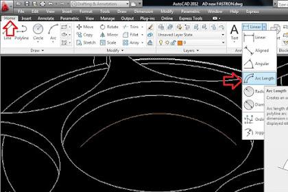 Cara membuat Arc length, Dimensi Panjang Busur