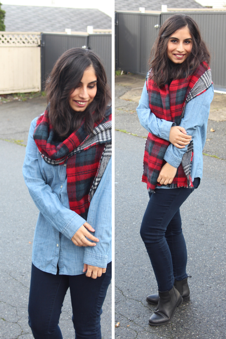 reversible plaid scarf and chambray shirt | http://www.footnotesandfinds.com #fallfashion #boyfriendcoat #plaid
