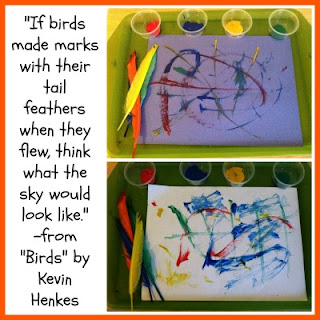 Kevin Henkes, birds,  book activity, paint with feathers, image