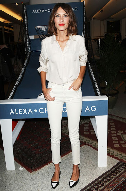 Alexa Chung in monochrome white denim