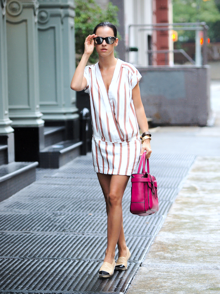 bittersweet colours, CHANEL, Chanel espadrilles, COLORS, cooee jewelry, Lincoln Center NYFW, mirrored sunglasses, New York, NYFW, nyfw 2013, Reed Krakoff, street style, stripes, Zara,