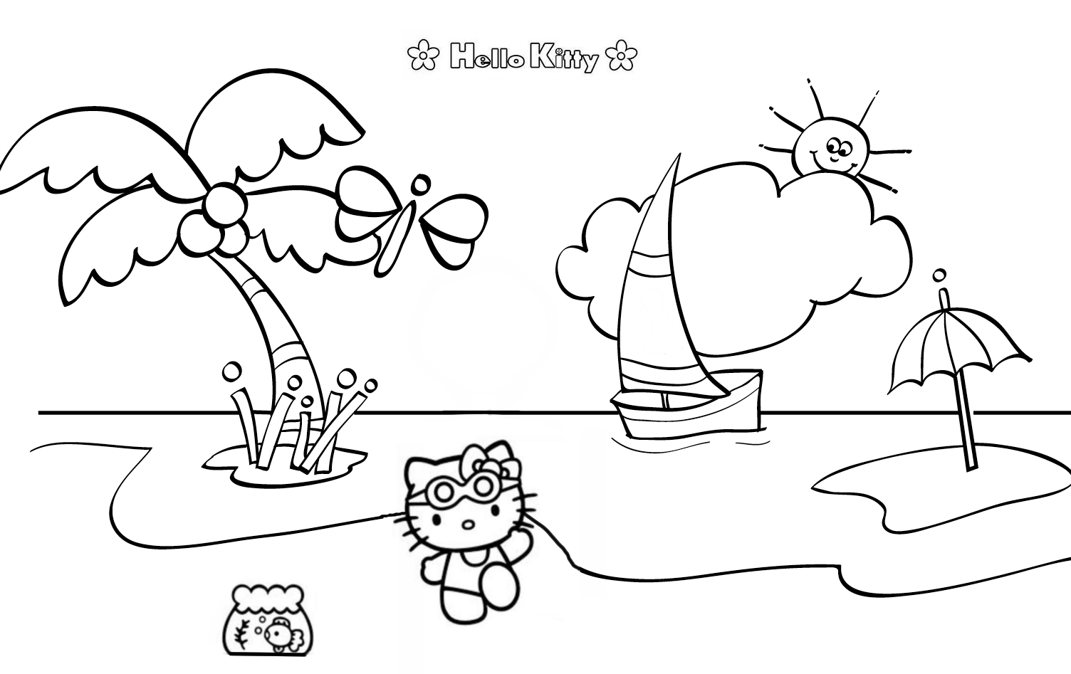 Hello Kitty The Beach Coloring Page