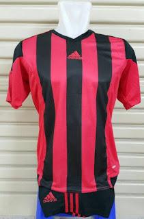gambar desain terbaru musim depan di enkosa sport Setelan futsal Adidas Striped 2016 hitam merah photo kamera