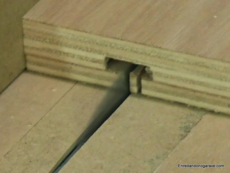 Terminar de cortar la ranura en T para los pernos. www.enredandonogaraxe.com