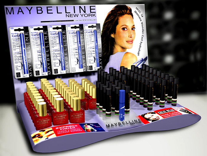 Maybelline make-up tester POS display Design by Somerset Harris