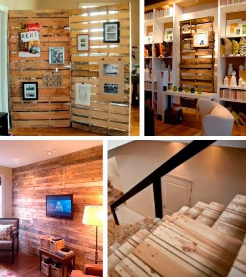 Como dividir areas con tarimas o palets ingeniando - Como decorar una pared con madera ...