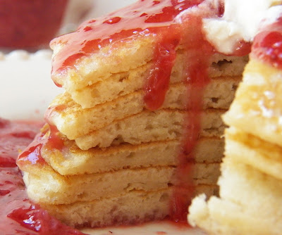 Pancakes with Strawberry and Agave-Nectar Compote, cut for interior view