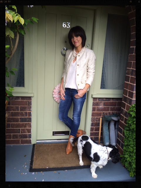 My Midlife Fashion, Pearls, Statement Necklace, Damart, skinny jeans, Zara, distressed denim, tan boots