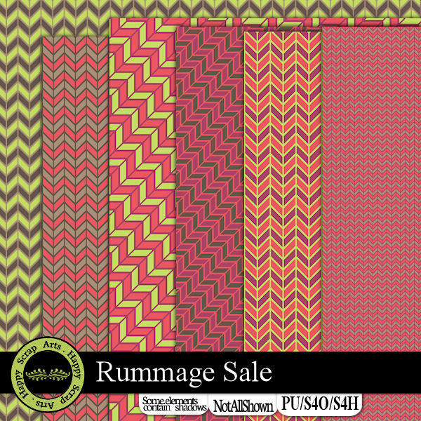 Nov.'15-Happy Scrap Arts  Rummage Sale papers 2