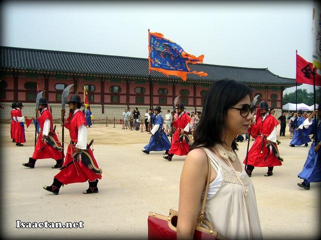 sexy girl in front of Gyeongbokgung Palace Seoul Korea