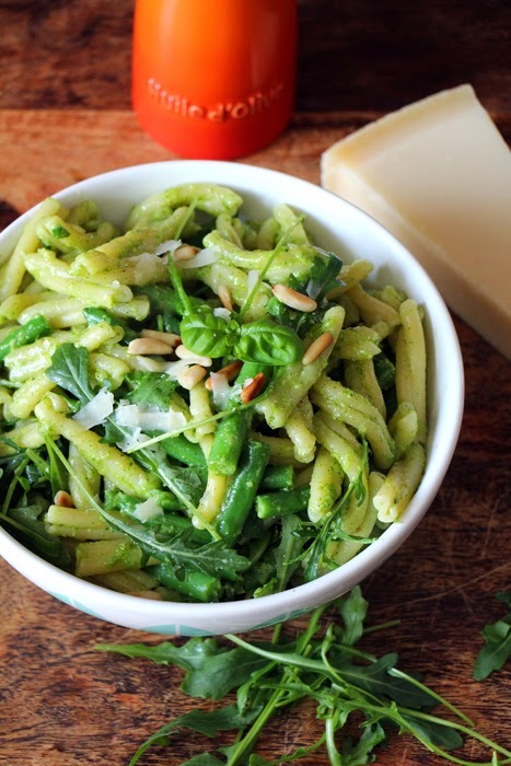 Caserecce al Pesto / Nudeln mit grünen Bohnen und Pesto