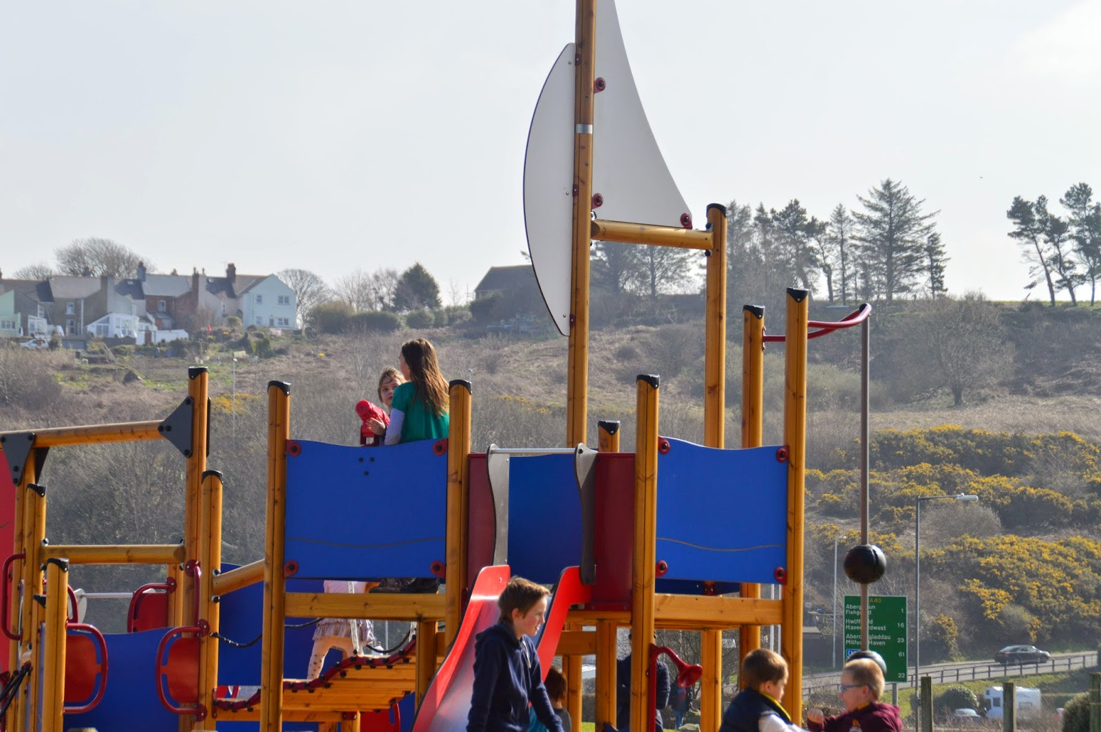 Family day out Goodwick Pembrokeshire Beach Park Travel Wales
