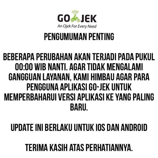 Pengumuman untuk Pengguna Aplikasi Go-Jek