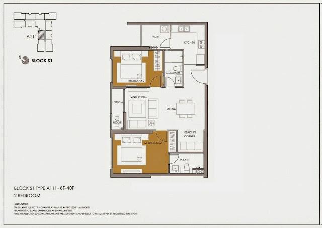 Căn thiết kế 2 phòng ngủ (diện tích thông thủy) : 67m2 - 71m2