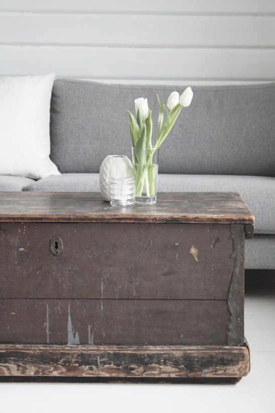 Above Image: A Vintage Antique Trunk With U0027chippyu0027 Paint In Plum/brown  Tones Beautifully With The Pale Grey Sofa And White Walls Of The Gorgeous  Home Of ...