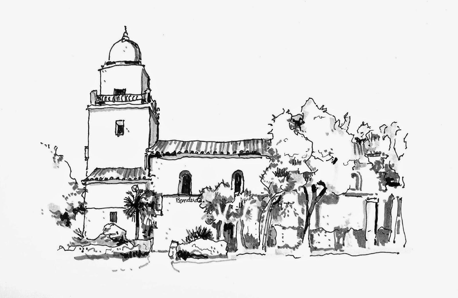 Junipero Serra Mission San Diego Sketch Coloring Page