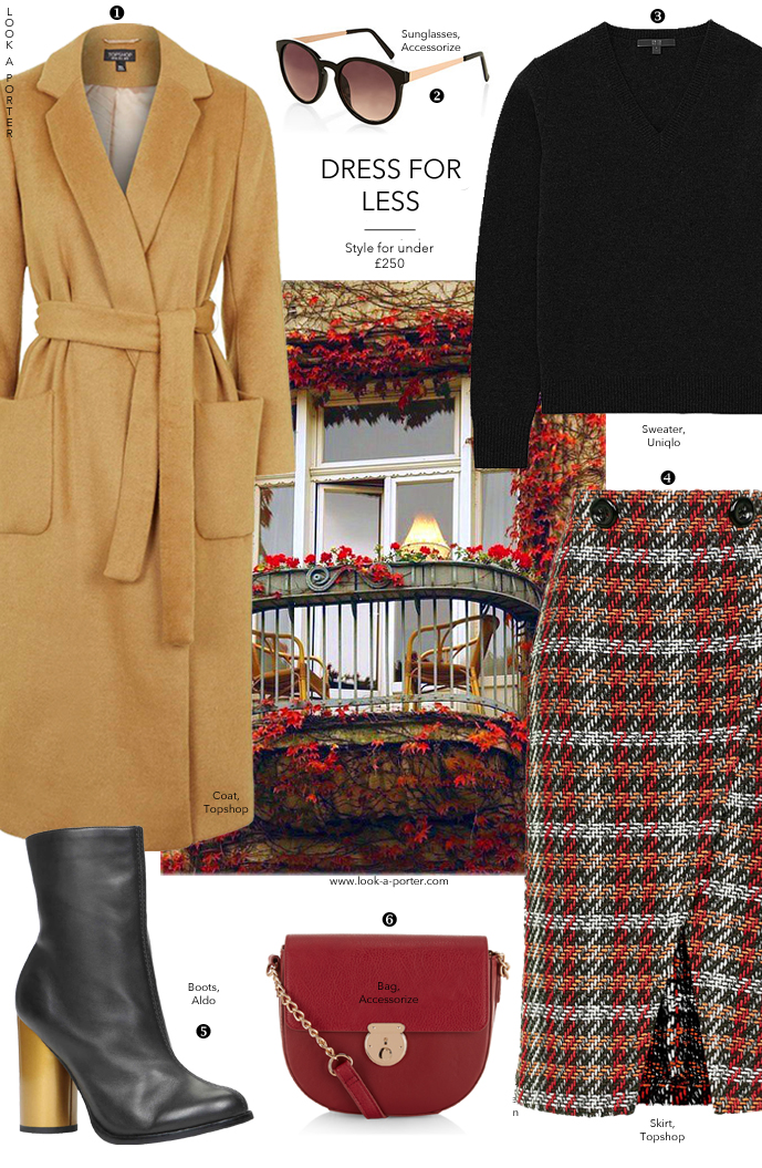 Another way to style a camel coat mixing it up with a tweed midi, one of the Fall/Winter 2015 trends, and some red accessories. Via www.look-a-porter.com