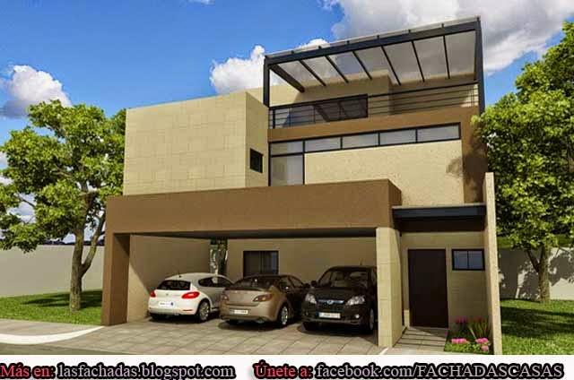 Fachadas de casas modernas con cochera fachadas de casas for Disenos techos minimalistas