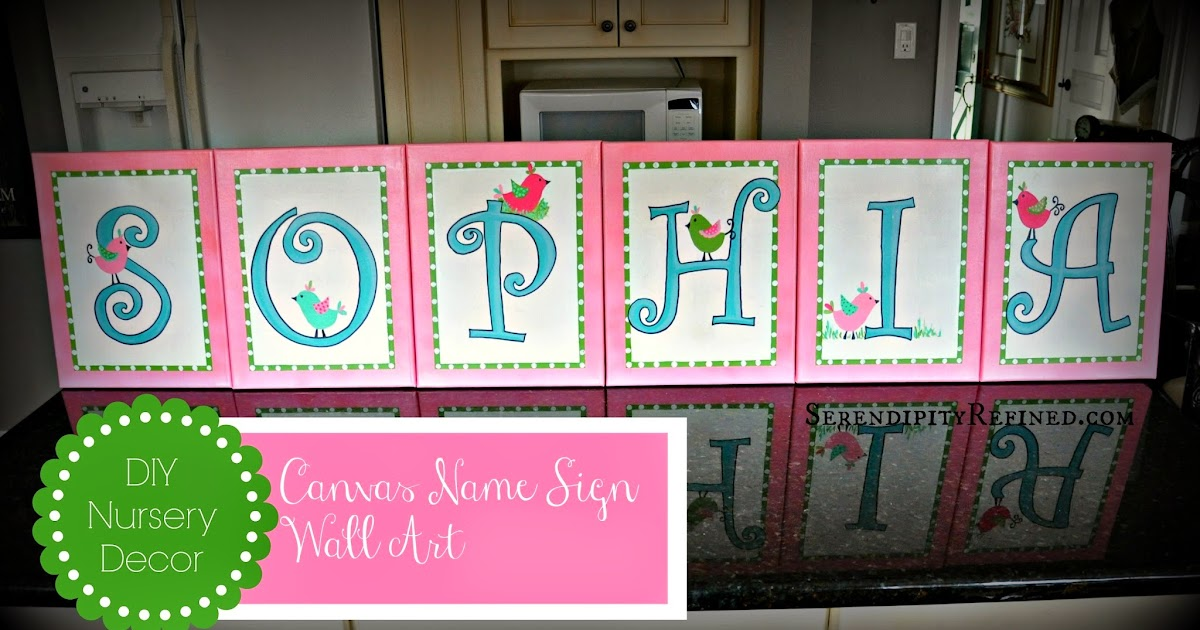 Diy Wall Art Name : Serendipity refined diy canvas name sign nursery