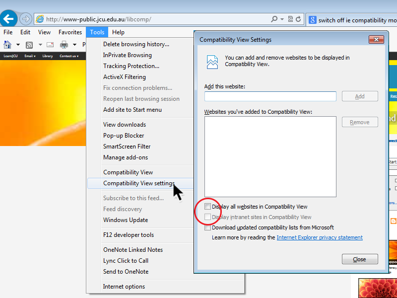 Turning off compatibility view